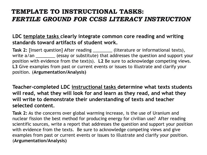 Template to Instructional Tasks: