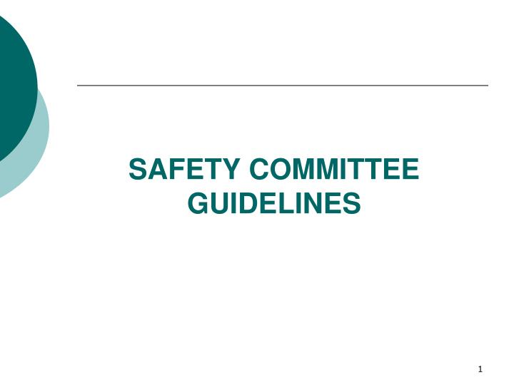safety committee guidelines n.