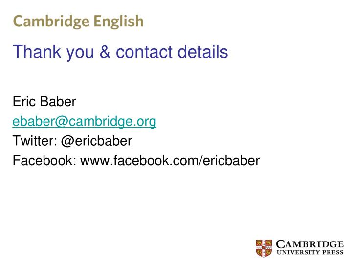 Thank you & contact details
