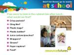 if we were to look in the rubbish bin after lunch what would we find
