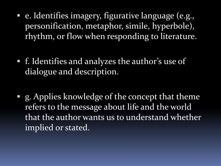 e. Identifies imagery, figurative language (e.g., personification, metaphor, simile, hyperbole), rhythm, or flow when responding to literature.