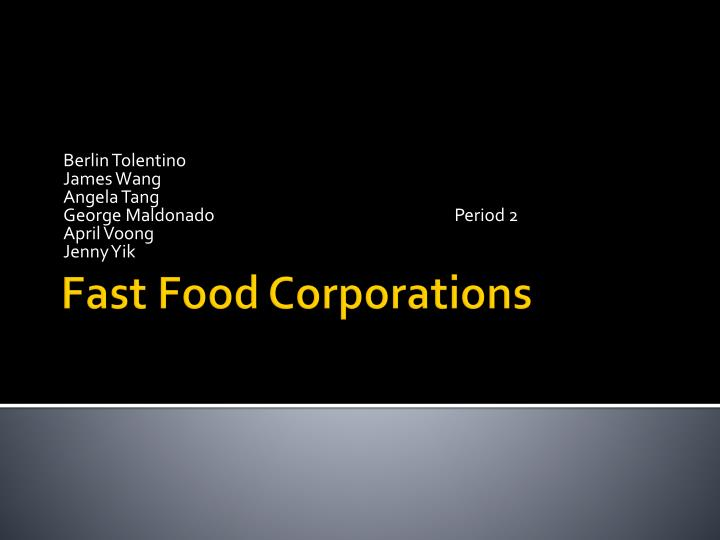 fast food corporations n.