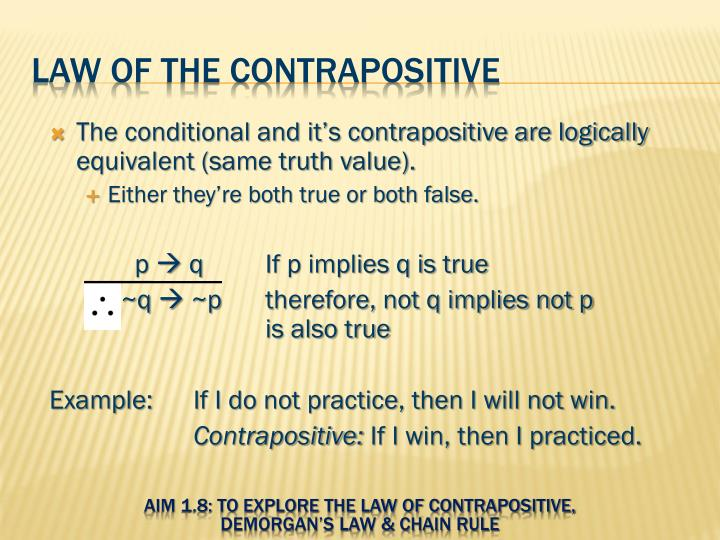 Ppt Aim 18 To Explore The Law Of Contrapositive Demorgans Law