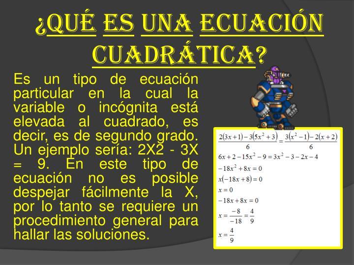 Qu es una ecuaci n cuadr tica
