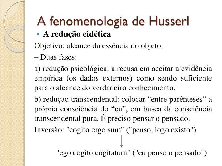 A fenomenologia de Husserl
