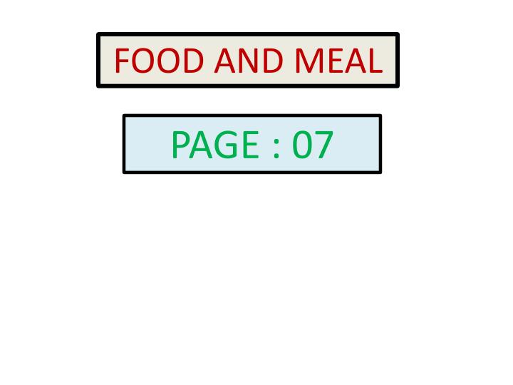 FOOD AND MEAL