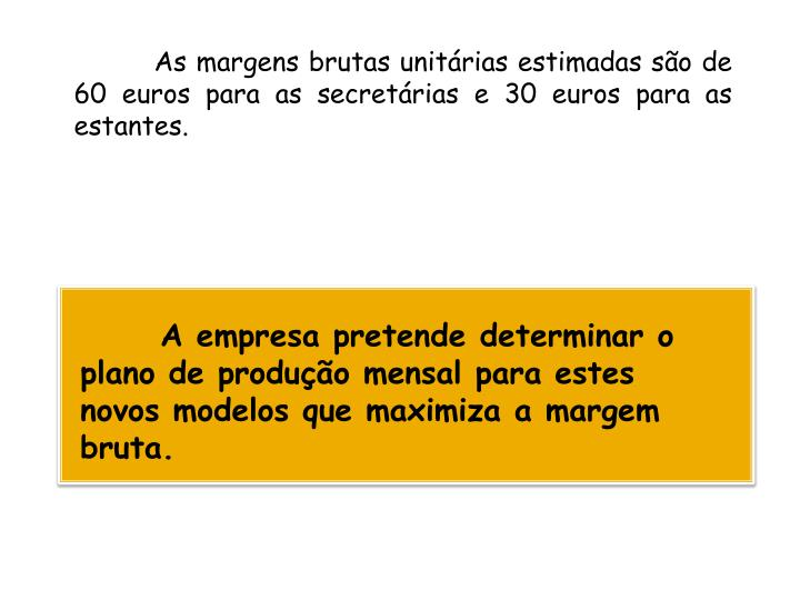 As margens brutas unitárias estimadas são de 60 euros para as secretárias e 30 euros para as estantes.