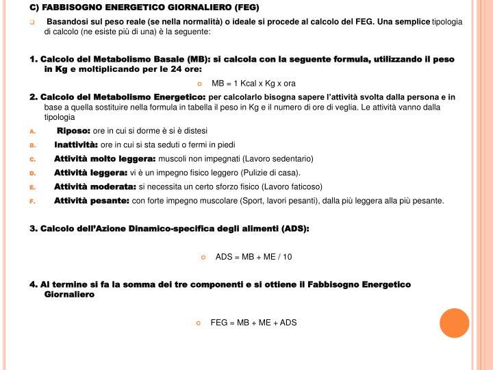 C) FABBISOGNO ENERGETICO GIORNALIERO (FEG)
