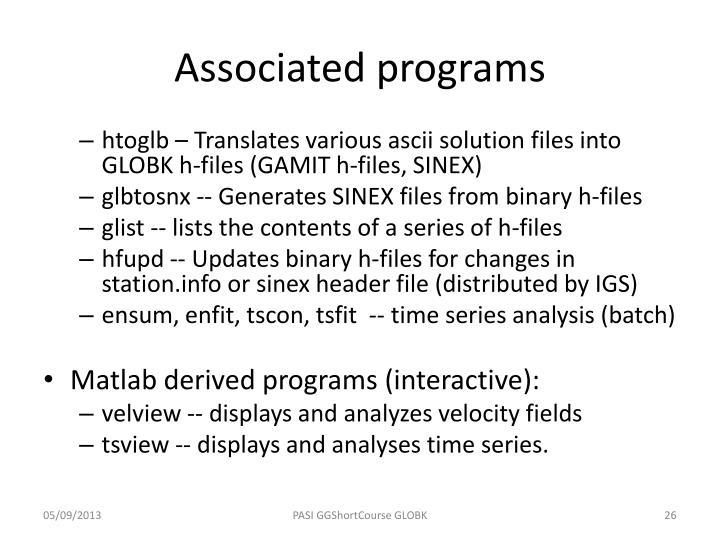 Associated programs