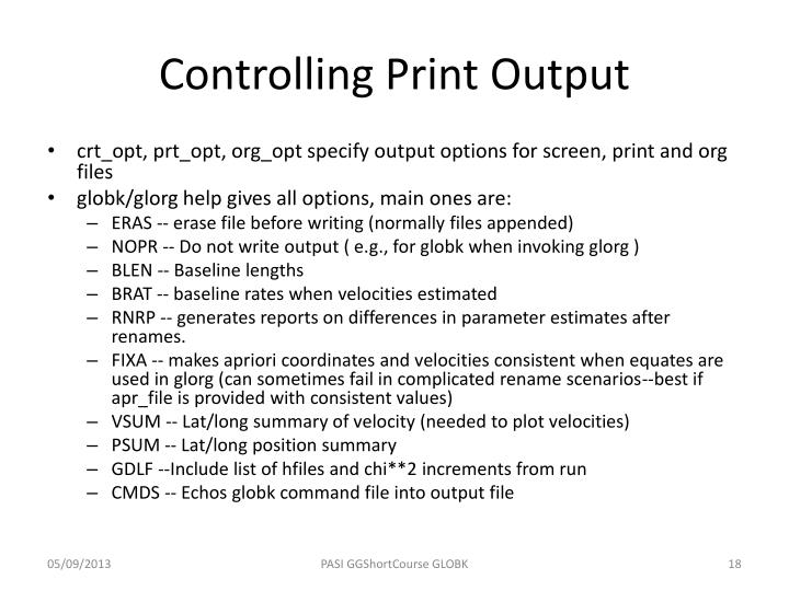 Controlling Print Output