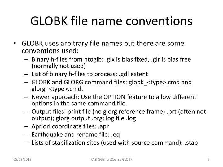 GLOBK file name conventions