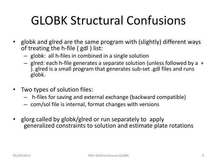 GLOBK Structural Confusions