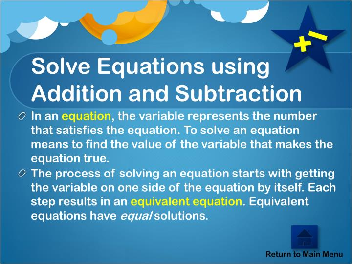 Solve Equations using Addition and Subtraction