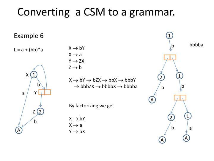 Converting  a CSM to a grammar.