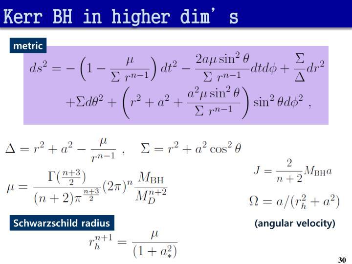 Kerr BH in higher dim's