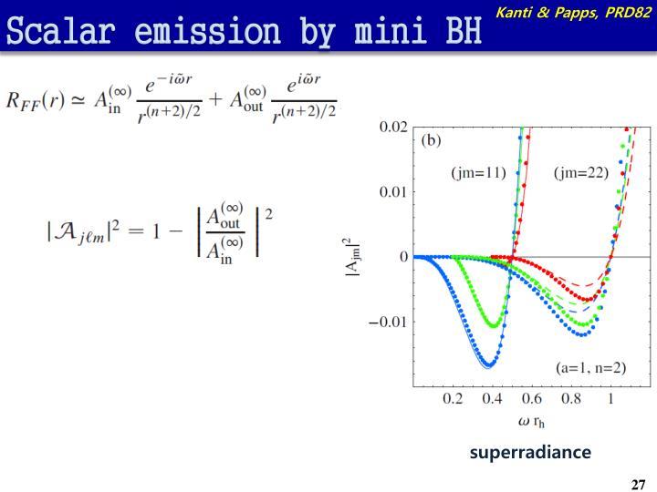 Scalar emission by mini BH