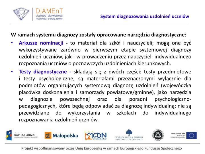 System diagnozowania uzdolnień uczniów