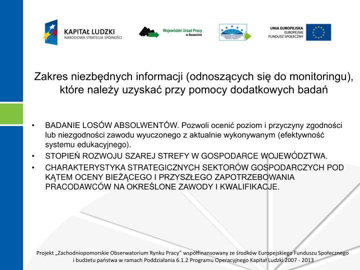Zakres niezbędnych informacji (odnoszących się do monitoringu), które należy uzyskać przy pomocy dodatkowych badań