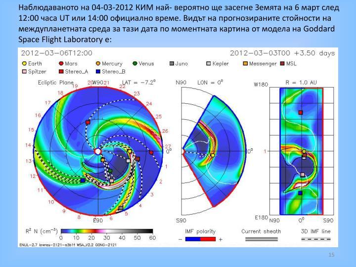 Наблюдаваното на 04-03-2012 КИМ най- вероятно ще засегне Земята на 6 март след 12:00 часа