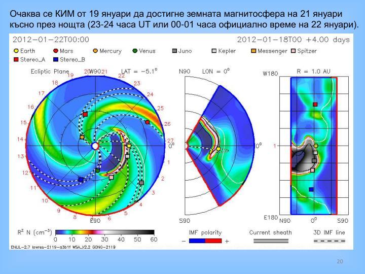 Очаква се КИМ от 19 януари да достигне земната магнитосфера на 21 януари късно през нощта (23-24 часа UT или 00-01 часа официално време на 22 януари).