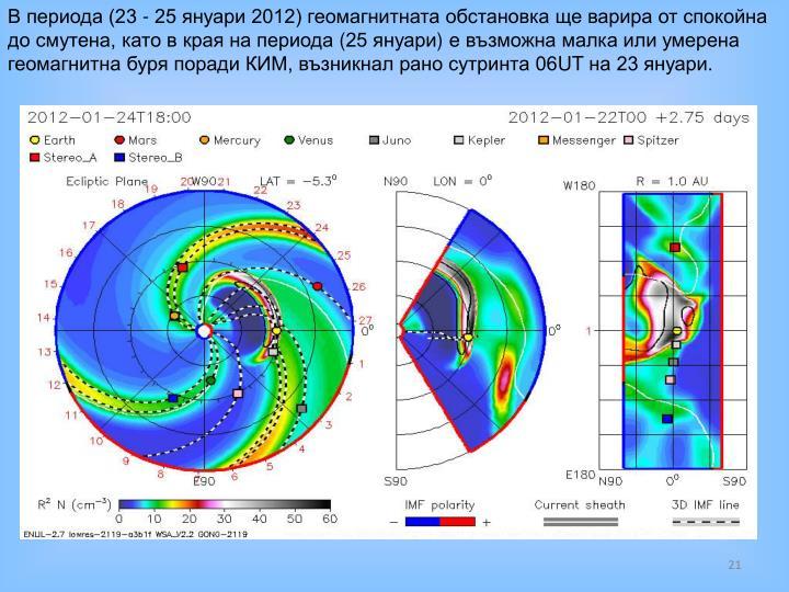 В периода (23 - 25 януари 2012) геомагнитната обстановка ще варира от спокойна до смутена, като в края на периода