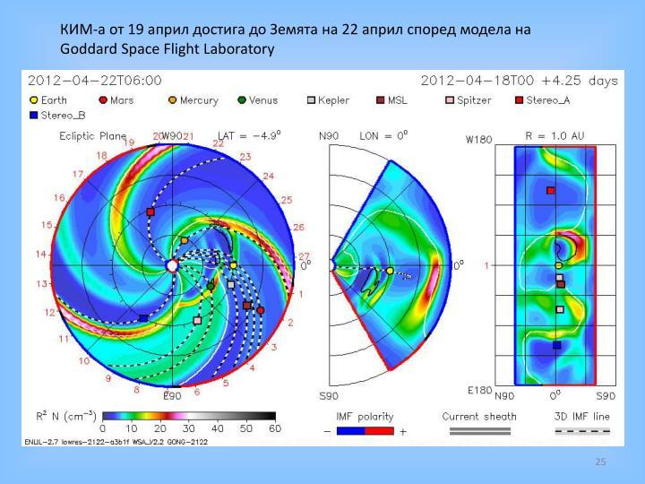 КИМ-а от 19 април достига до Земята на 22 април според модела на
