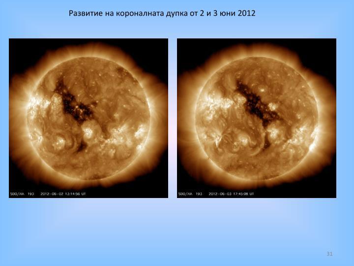 Развитие на короналната дупка от 2 и 3 юни 2012