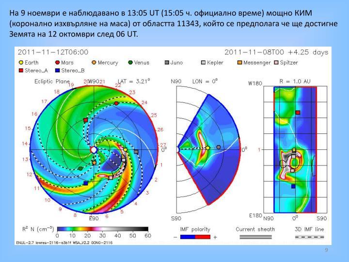 На 9 ноември е наблюдавано в 13:05 UT (15:05 ч. официално време) мощно КИМ (