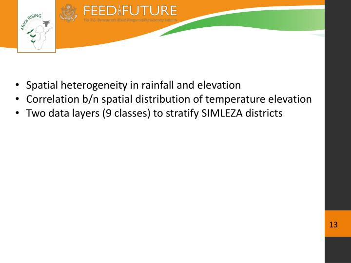 Spatial heterogeneity in rainfall and elevation