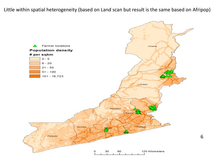 Little within spatial heterogeneity (based on Land scan but result is the same based on