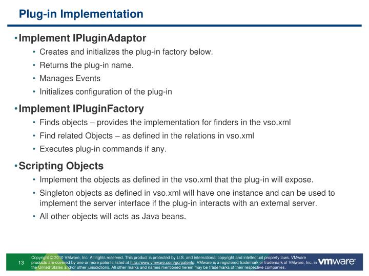 Plug-in Implementation