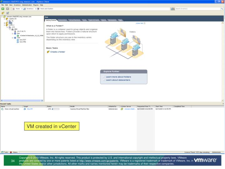 VM created in vCenter