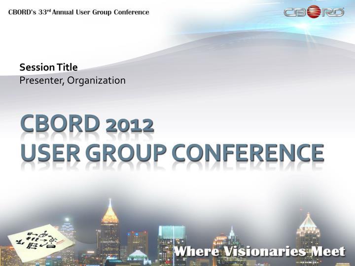 Session title presenter organization