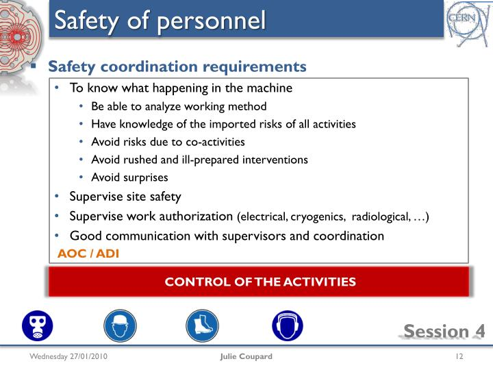Safety of personnel