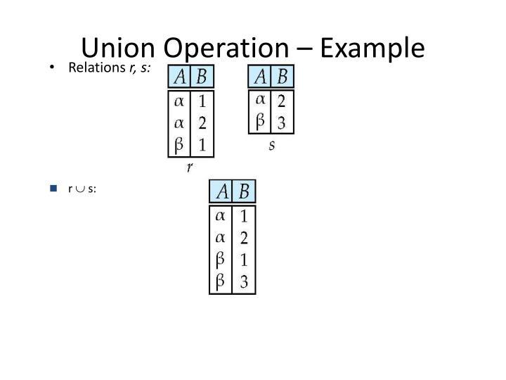 Union Operation – Example