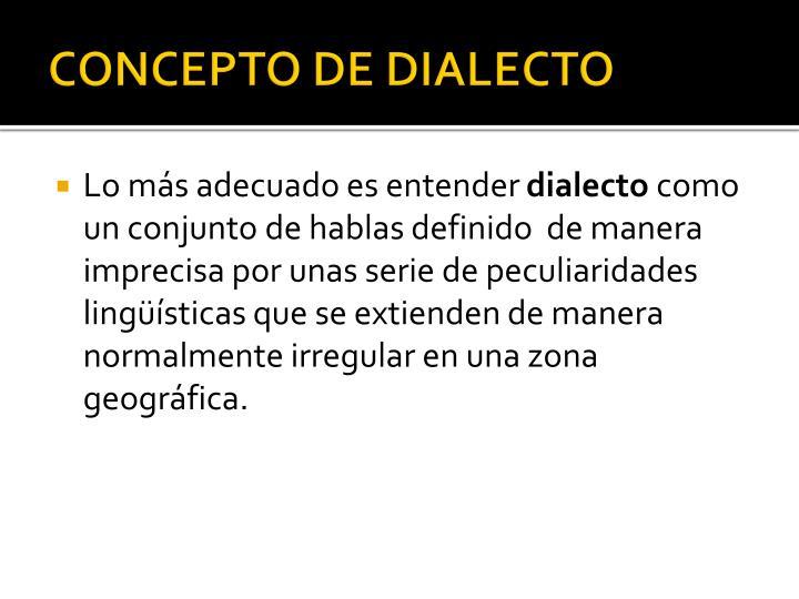 Concepto de dialecto