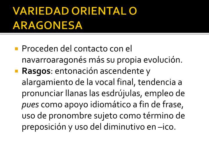 VARIEDAD ORIENTAL O ARAGONESA