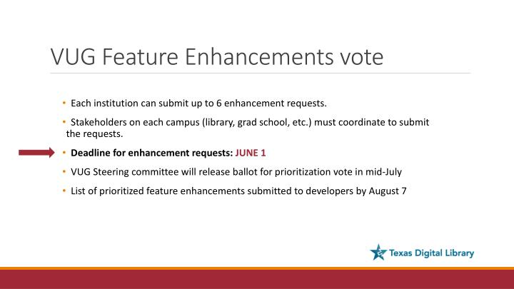 VUG Feature Enhancements vote
