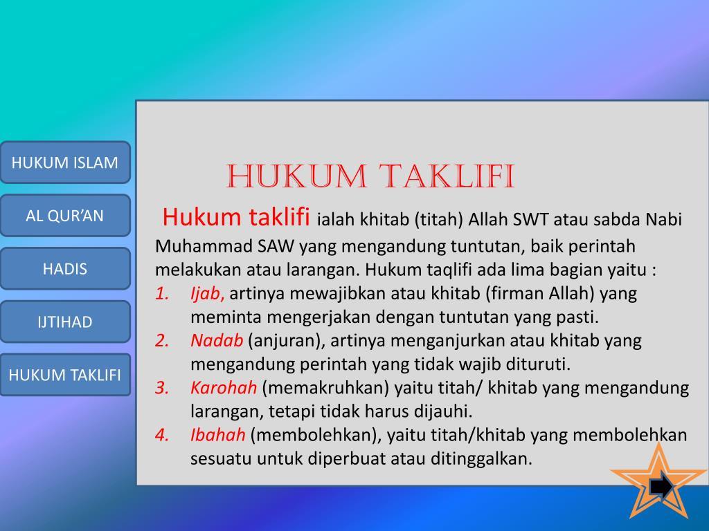 Ppt Bab 5 Aspek Fikih Sumber Hukum Islam Hukum Taklifi Hukum Wad I Powerpoint Presentation Id 3457780