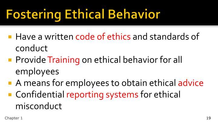 Fostering Ethical Behavior