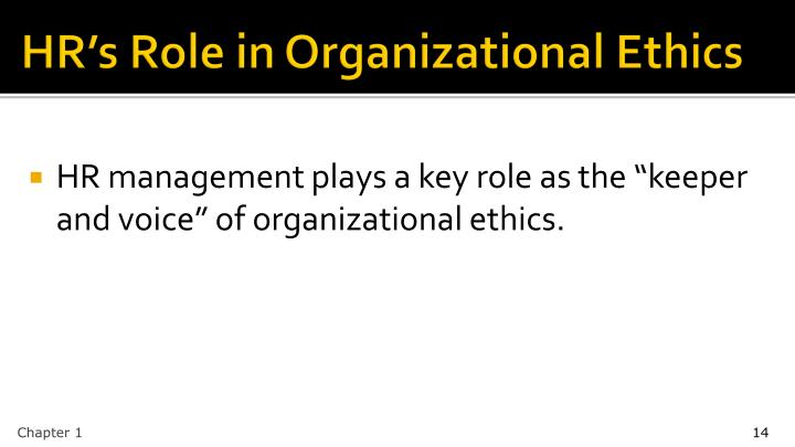 HR's Role in Organizational Ethics