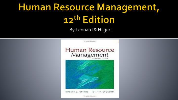 Human resource management 12 th edition