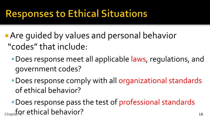 Responses to Ethical Situations