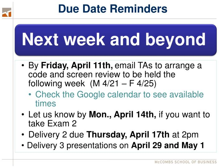Due Date Reminders