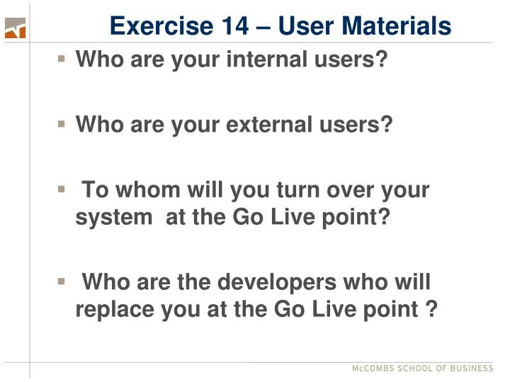 Exercise 14 – User Materials