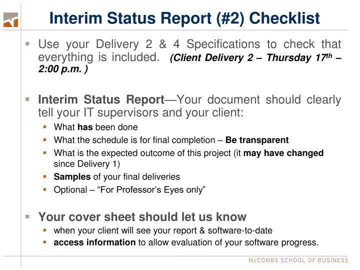 Interim Status Report (