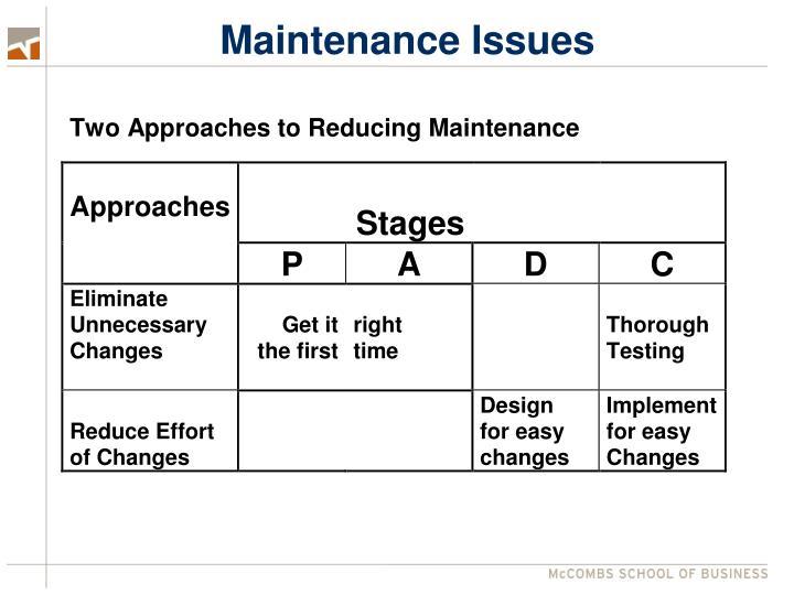 Maintenance Issues
