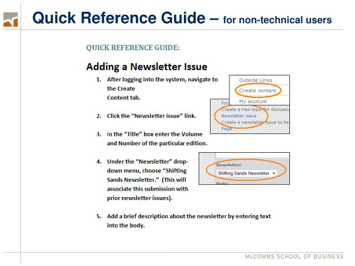 Quick Reference Guide –
