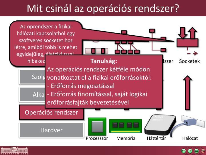 Mit csinál az operációs rendszer?