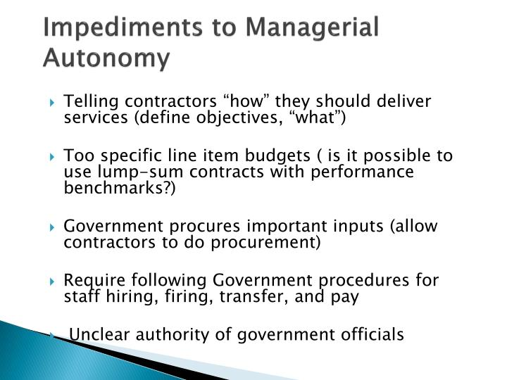 Impediments to Managerial Autonomy